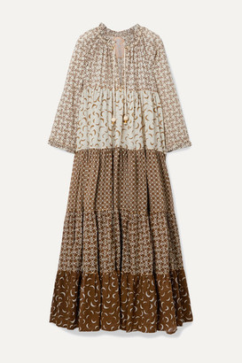 Yvonne S Hippy Tiered Printed Cotton-voile Maxi Dress - Brown