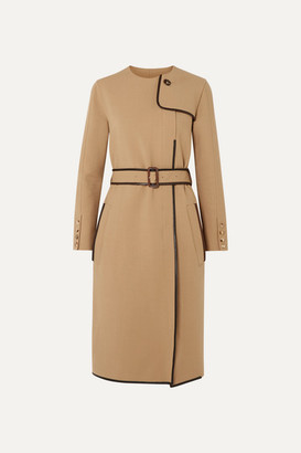 Burberry Belted Leather-trimmed Cady Midi Dress - Beige