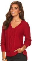 Chaps Women's Cable-Knit V-Neck Sweater
