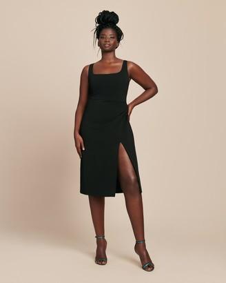 Cushnie Square Neck Sleeveless Pencil Dress with Thigh Slit
