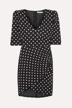 Alice + Olivia Alice Olivia - Judy Ruched Polka-dot Stretch-jersey Mini Dress - Black