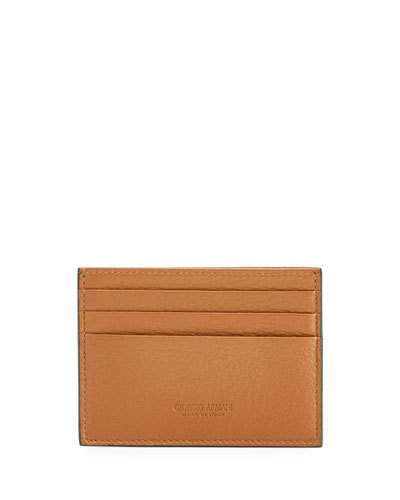 Giorgio Armani Leather Card Holder, Brown
