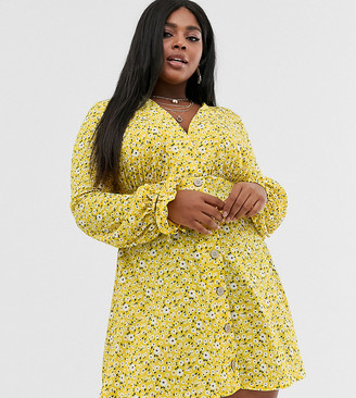 Asos DESIGN Curve textured ditsy print mini tea dress with tie cuff and matching scrunchie-Green