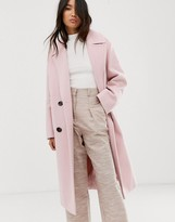 Asos Design DESIGN classic coat with statement buttons in pink