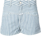 Closed panelled striped shorts - women - Cotton/Linen/Flax - 24