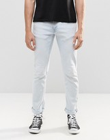 Nudie Jeans Long John Skinny Jeans Islands Blues Bleach Wash