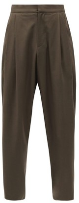 Edward Crutchley High-rise Wool Trousers - Brown