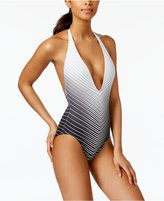 Vince Camuto Miter-Stripe Plunging One-Piece Swimsuit