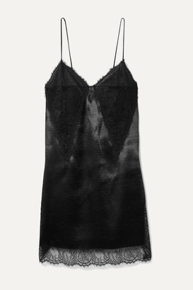Philosophy di Lorenzo Serafini Lace-paneled Satin Mini Dress - Black