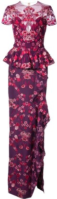 Marchesa Peplum Floral Gown