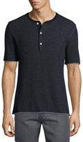 Billy Reid Short-Sleeve Henley Sweater, Navy