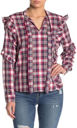 Blanknyc Denim Plaid Ruffle Shirt
