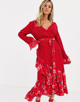 Dark Pink wrap front midaxi dress in dark floral print