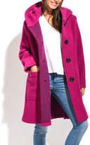 Everest Fuchsia Hooded Wool-Blend Coat