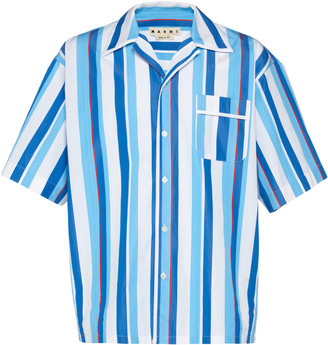 Marni Camp-Collar Striped Cotton-Poplin Shirt