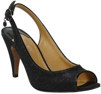 J. Renee Glitter Fabric Cone-Heel Sandals - Gervasi