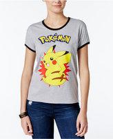 Mighty Fine Juniors' Pikachu Burst Graphic Ringer T-Shirt