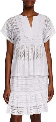 MICHAEL Michael Kors V-Neck Short-Sleeve Eyelet Lace Mix Flutter Top