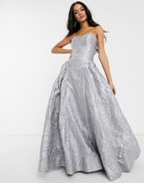Bariano sweetheart neck prom dress in frosty gray