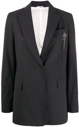 Brunello Cucinelli bead-detail fitted jacket