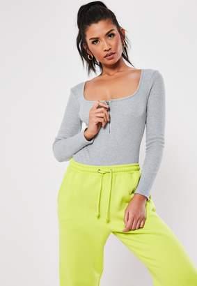 Missguided Petite Grey Zip Front Scoop Bodysuit