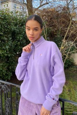 Champion Quarter-Zip Sweatshirt - Purple XS at Urban Outfitters