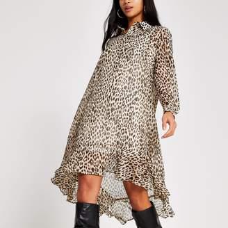 River Island Womens Petite Beige animal printed midi shirt dress