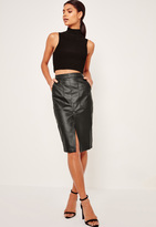Missguided Faux Leather Pocket Detail Midi Skirt Black