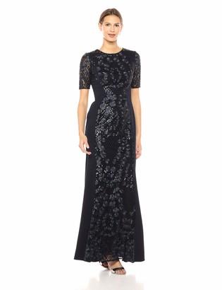 Adrianna Papell Women's Short Sleeve Long Sequin Knit Crepe Dress