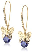 "Betsey Johnson Cubic Zirconia Critter"" Cubic Zirconia and Butterfly Long Drop Earrings"