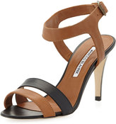 Manolo Blahnik Musancom Ankle-Wrap Sandal, Black/Luggage