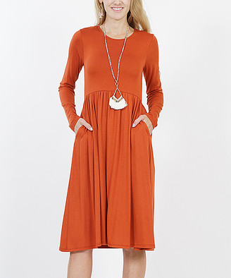 Lydiane Women's Casual Dresses COPPER - Copper Long-Sleeve Empire-Waist Dress - Women