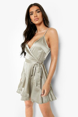 boohoo Satin Frill Skirt Wrap Skater Dress