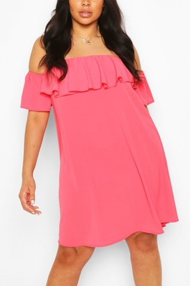 boohoo Plus Off The Shoulder Shift Dress