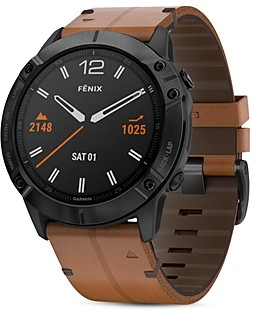 Garmin Fenix 6X Chestnut Leather Strap Smartwatch, 51mm