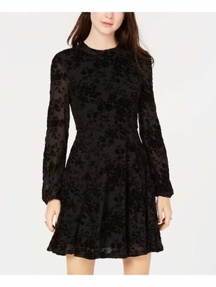 American Rag Womens Black Lace Velvet Floral Long Sleeve Crew Neck Short Trapeze Evening Dress UK Size: XL