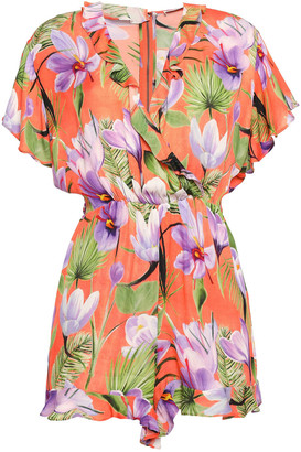 Alice + Olivia Sachi Ruffle-trimmed Floral-print Voile Playsuit