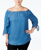 Style&Co. Style & Co Plus Size Off-The-Shoulder Denim Top, Only at Macy's
