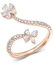 Bloomingdale's Diamond Flower Bypass Ring in 14K Rose Gold, 0.70 ct. t.w. - 100% Exclusive
