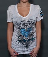 Rebel Spirit White Heart V-Neck Tee - Women