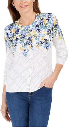 Karen Scott Petite Floral Print Cardigan Sweater
