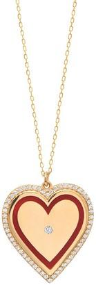 GABIRIELLE JEWELRY 22K Gold Vermeil, Cubic Zirconia Enamel Heart Pendant Necklace