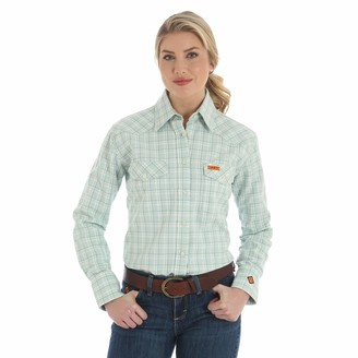 Riggs Workwear Womens Fr Flame Resistant Western Long Sleeve Twill Work Utility Button Down Shirt