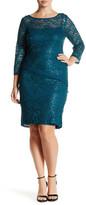 Marina Scalloped Lace Sequin Sheath Dress (Plus Size)