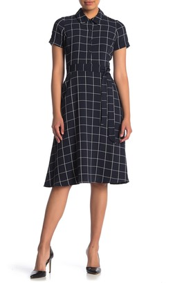 Maggy London Windowpane Waist Tie Midi Dress (Petite)