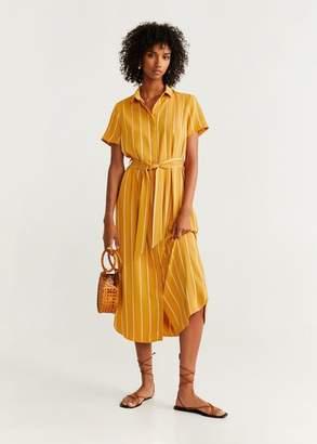 MANGO Belt shirt dress mustard - 4 - Women