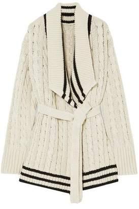 Maison Margiela Cable-knit Cotton And Linen-blend Cardigan