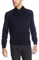 Calvin Klein Men's Merino Acrylic Color Block Saddle 1/4 Zip Sweater