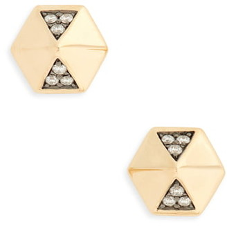 Harwell Godfrey Diamond Hexagon Dome Stud Earrings