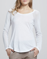 Alexis Muriel Perforated-Sleeve Top, White